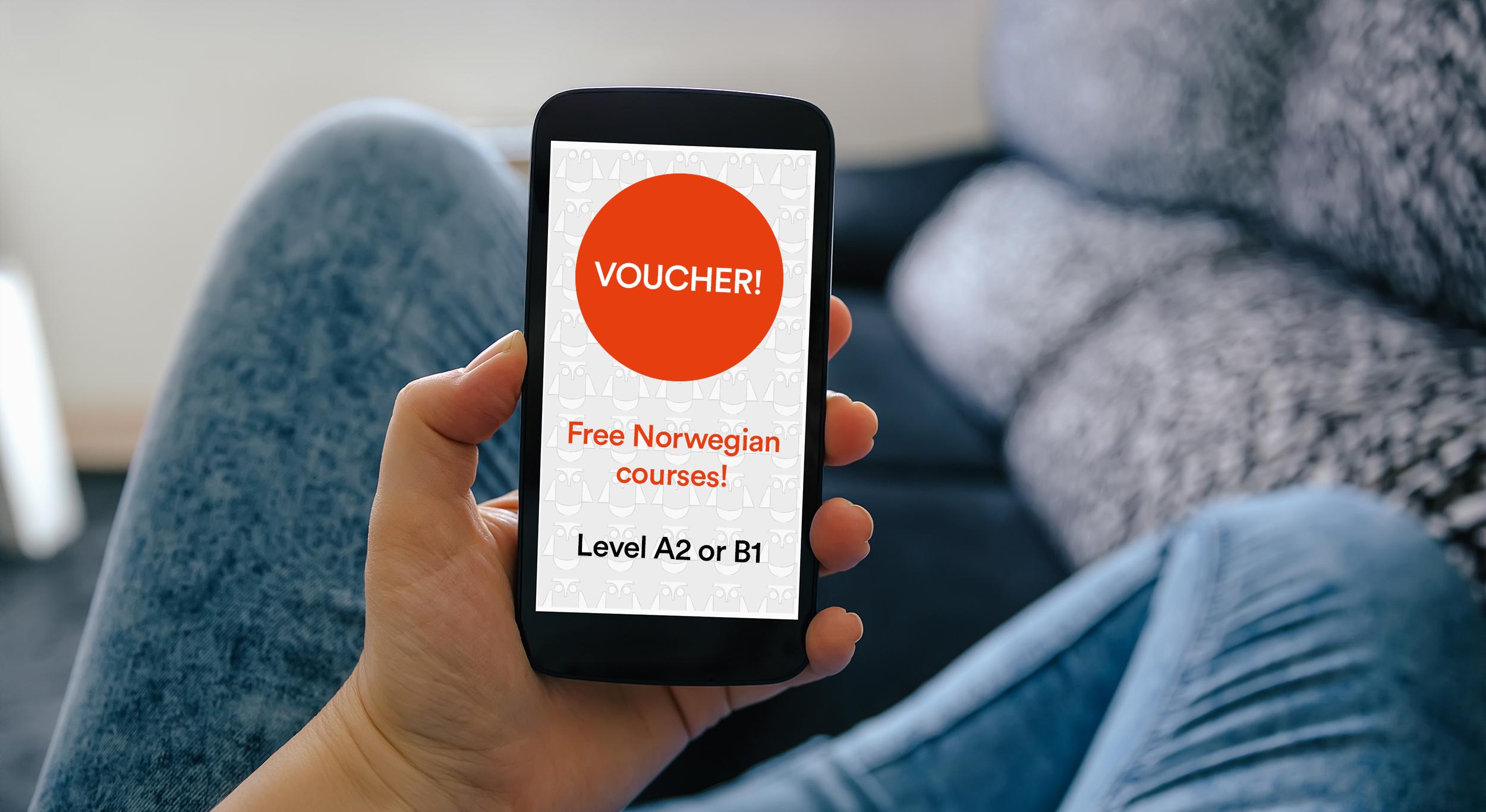 voucher for free courses in Norwegian